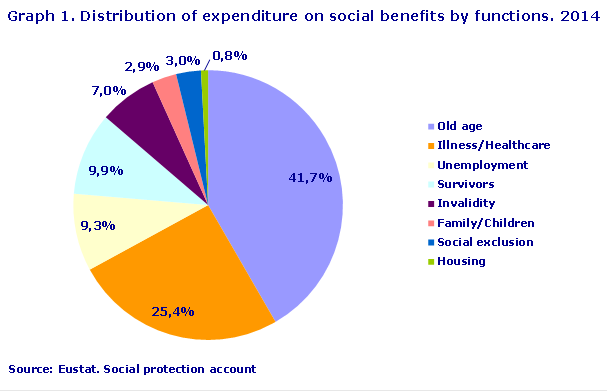 Graph 1. Distribution of expenditure on social benefits by functions. 2014